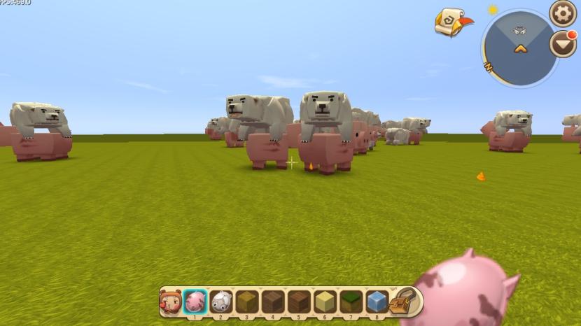 最重要的黑科技在这里,玩家选择高级选项后就能看到增加生物的特征,一共拥有多达21种特征,玩家可以根据需要自行设定,这里玩家让巨型猪成为坐骑的原因是增加了猪抱起生物的特征,一旦遇到冰熊,就会自动抱起。自动寻宝的功能就是喜欢方块这个特征,会自动寻找蓝钻石块!